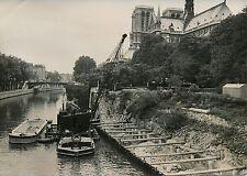 PARIS 1955 - Travaux Quai Montebello - Photo de Presse