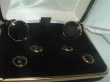 Bill Blass Formal Suite Cufflinks & Studs Goldtone w Onyx Centers in Velvet Box