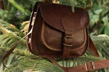 Women Purse Genuine Brown Leather Cross Body Shoulder Handmade bag from India(G)