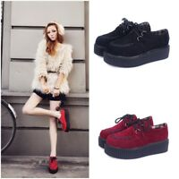 FASHION WOMENS PLATFORM LACE UP LADIES FLATS CREEPERS PUNK GOTH SHOES