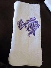 Machine Embroidered Hand Towel Purple Fish  Handmade -- New
