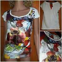"DESIGUAL""Newe Good"" Knitted Top.Short sleeve,round neckline.multicolor,Siz S"