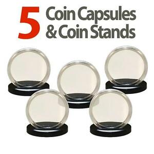 5 Coin Capsules & 5 Coin Stands for MORGAN / PEACE / IKE DOLLARS Airtight H38