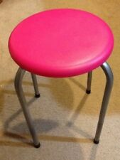 HOT PINK PLASTIC SEATED STOOL