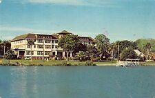 VTG 1981 POSTCARD NEW SMYRNA BEACH INDIAN RIVER LODGE FLORIDA Pontoon Boat / A35