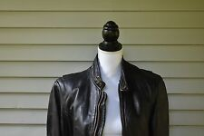 Mens 1960s Lesco Black Leather Motorcycle Jacket 40 USA Lined