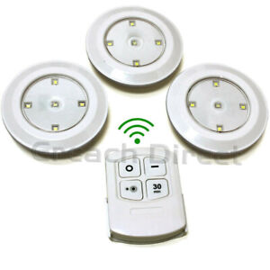 Remote Control LED Push Lights Self Stick Eco Dimmable Timer Battery WOWLights