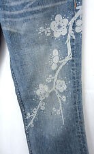 Uniqlo 2 Flowered Distressed Blue Cotton Jeans Pants Womens