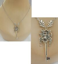 Fairy Necklace Key Silver Pendant Jewelry Handmade Assemblage Art Women Chain