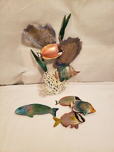 Bovano of Cheshire Metal & Enamel Tropical Fish Wall Sculptures, 3 Pieces