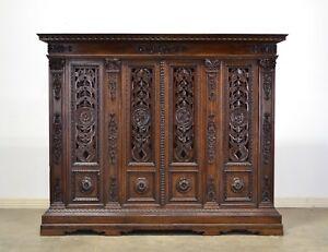1900's Italian Antique Walnut Bookcase Carved Doors