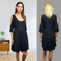 ASOS DRESS SIZE 8/10 BLACK SLIT SLEEVE LINING SHORT FIT & FLARED CHIFFON#32