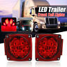 2x 80 LED 12V Rojo Remolque Camión Side Mark Lamp Square Tail Light Waterproof