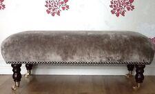 A Quality Long Footstool / Stool Laura Ashley Caitlyn Truffle Soft Velvet Fabric