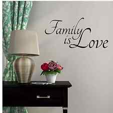 "Family is Love Vinyl Decal Wall Art Decor Sticker, 12"" X 22"", Black or White"