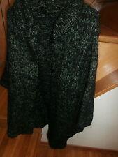 Hand Knit Sweater/Coat acrylic yarn 2 strands black/green