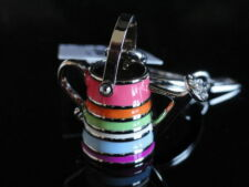 Coach Legacy Stripe Watering Can Swarovski Crystal Silver Tone Keyring New with