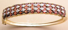 9.75ctw GENUINE GARNET & DIAMOND 18K GOLD VERMEIL BANGLE NEW