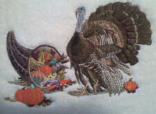 THANKSGIVING TURKEY  EMBROIDERED BATH HAND TOWELS SET OF 2 NEW UNIQUE by laura