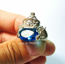 """RAHU Alpacca Ring""with Light-Blue Gem of Thai Powerful Amulet  #US 9/#British R"