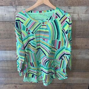 Fresh Produce Long Sleeve Top Blouse Paint Swatches 2x Women's
