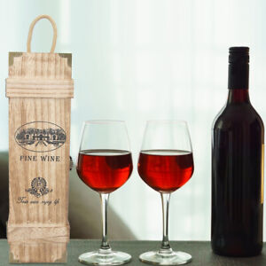 Vintage Portable Wood 1/2 Bottles Red Wine Gift Storage Box Decoration With Rope