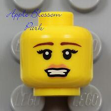 NEW Lego 1 Female MINIFIG HEAD Cheerleader Girl Princess Series Pink Lips Smile