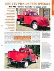 Citroën 2 CV AZU Pick-up Service Incendie Fourgonnette Car Auto FICHE FRANCE
