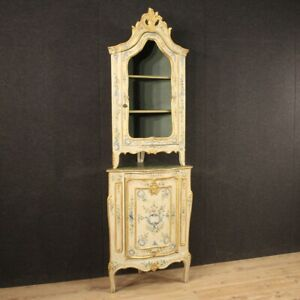 Caddy Cupboard Furniture Showcase Wooden Lacquered Painting Golden Antique Style