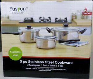 Fusion Gourmet 5 Piece Stainless Cookware Set, 2 Saucepans, 1 Dutch Oven, 2 Lids