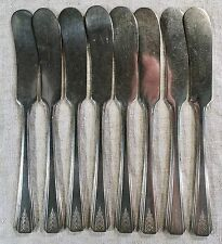 Set 8 Oneida Community BUTTER SPREADERS KNIVES 1931 CLARION Silver plate NICE