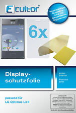 6x Ecultor LG Optimus L3 II / 2 screen protector protection crystal clear