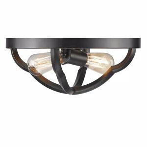 Golden Lighting Saxon 2-Light Aged Bronze Flush Mount Light 5926-FM ABZ