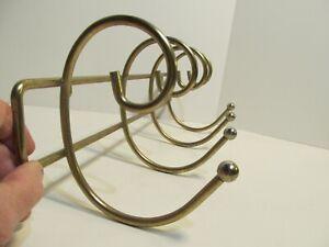 Vintage Train Style Brass Coat Hat Rack 4 Hooks