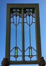 Antique 2 Light Window Leaded Stained Tulip Slag Glass 17x29 Vtg Old 994-20B