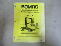 1994 Bomag BW11R Pneumatic Tired Roller Operating Maintenance Instruction Manual