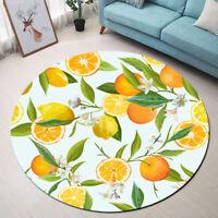 Orange and Lemon Green Leaves Area Rugs Soft Bedroom Living Room Round Floor Mat