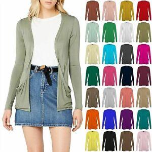 Women Long Sleeve Boyfriend Cardigan Open Front Ladies Pocket Top UK Size 8-26