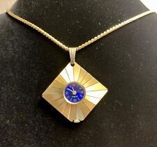 "Vintage Endura  Swiss Deco Gold Toned Blue Dial Necklace Wind Watch 27"" Chain"