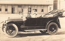 Old RPPC Photo Postcard Man in Car Top Down & Horse & Buggy In Front of Stables