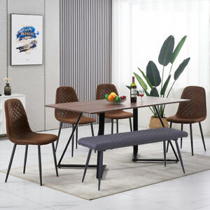 Wood Dining Table and Chairs Bench Set Kitchen Dining Room Home Furniture New UK