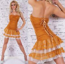 SeXy Damen Girly Bandeau Volant Spitze Mini Kleid Corsage Dress XS/S senf-gelb
