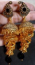South Indian Antique Gold Plated CZ Kundan Polki Wedding Earrings Jhumka Set 12