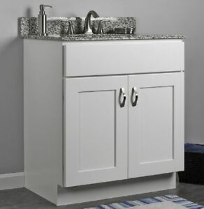 "JSI Dover 30"" White Two Door Single Bathroom Vanity Cabinet w/ Solid Wood Frame"