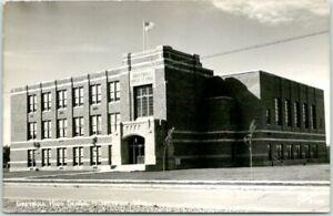 "Greybull, Wyoming RPPC Postcard ""GREYBULL HIGH SCHOOL"" Sanborn Photo c1940s"