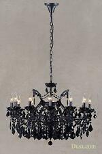 DUSX Vivianne Antique Black Crystal Cut Glass 12 Arm Large Chandelier Light