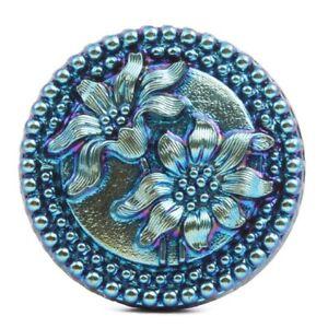Czech blue metallic Edelweiss flower black shankless glass button cabochon