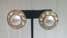 Vintage Goldtone Metal Clear Crystal Faux Pearl Cabochon Disk Clip-on Earrings