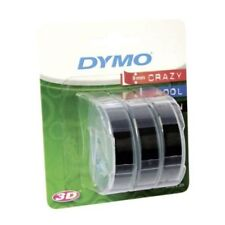 Dymo 3D (9mm) Embossing Tape (White on Black)  Pack of 3 Rolls for Dymo Junior a