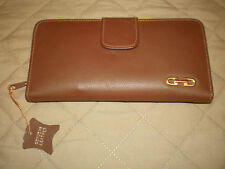 NOS - Vintage Ladies Genuine Leather Brown Wallet Checkbook Organizer Clutch